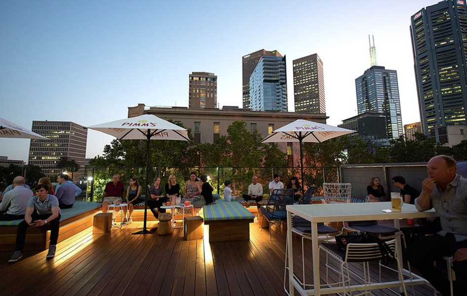 The rooftop beer garden is stunning, possibly one of the nicest in Melbourne. A tragedy that you can't get a parma up there.
