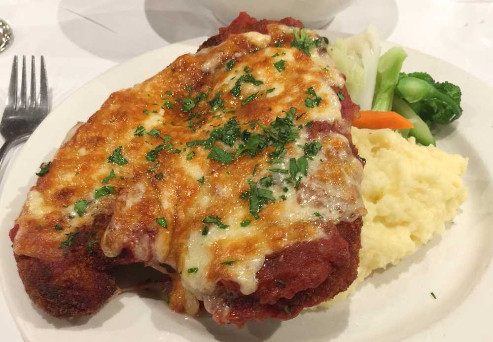 The Emerald parma with creamy mash & vegetables
