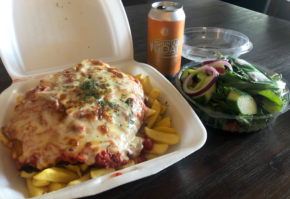 Parma and Salad from Eat Pizza, beer supplied by my fridge.
