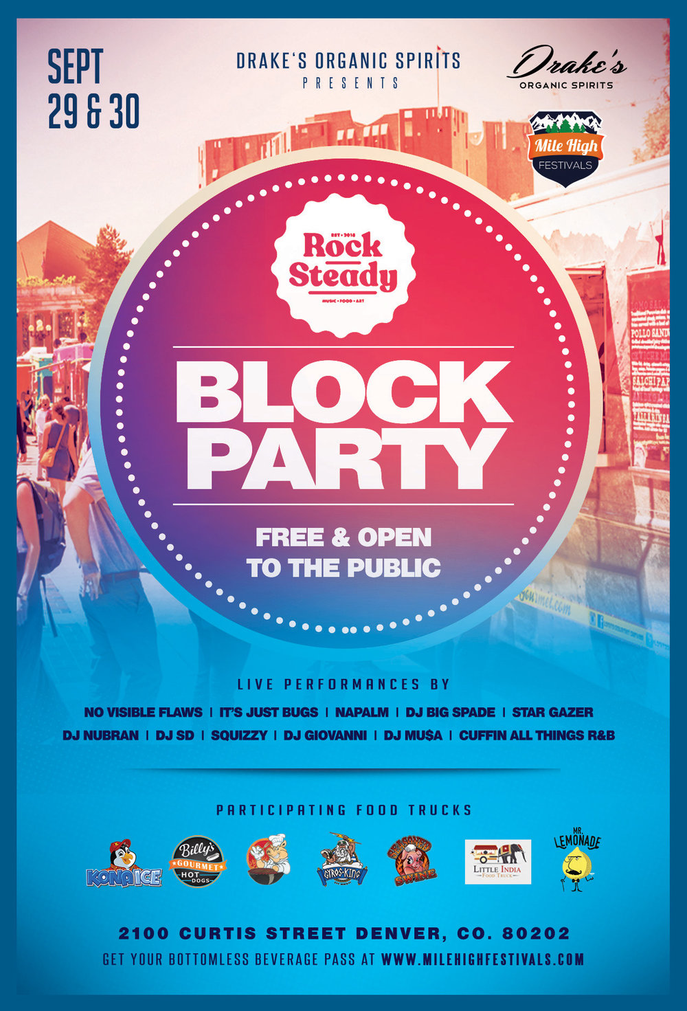Win free drinks at the Block Party from Drake's Organic Spirits! - WIN