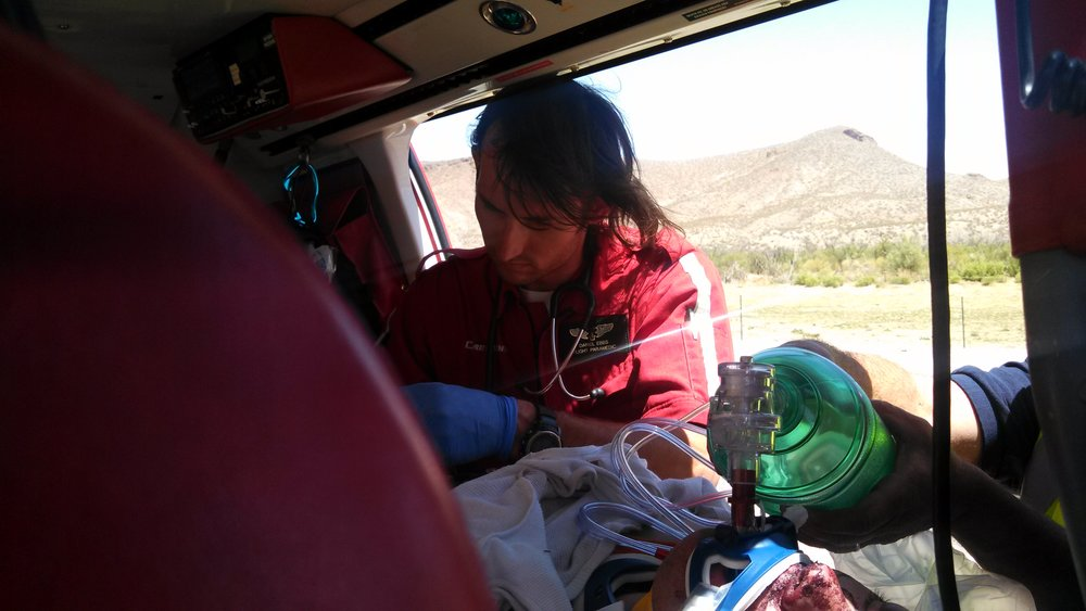 Daniel working as Flight Paramedic in rural New Mexico
