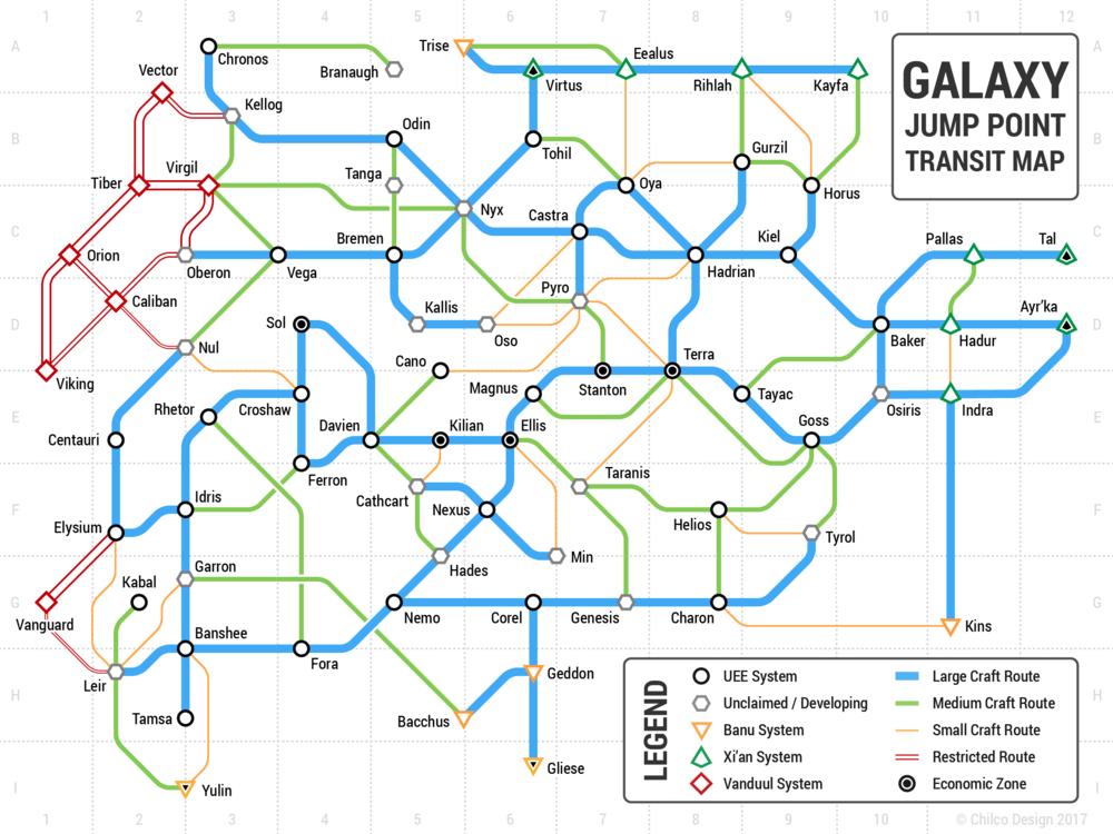Chilco Design Studio Star Citizen Galaxy Tube Map - Printable star map