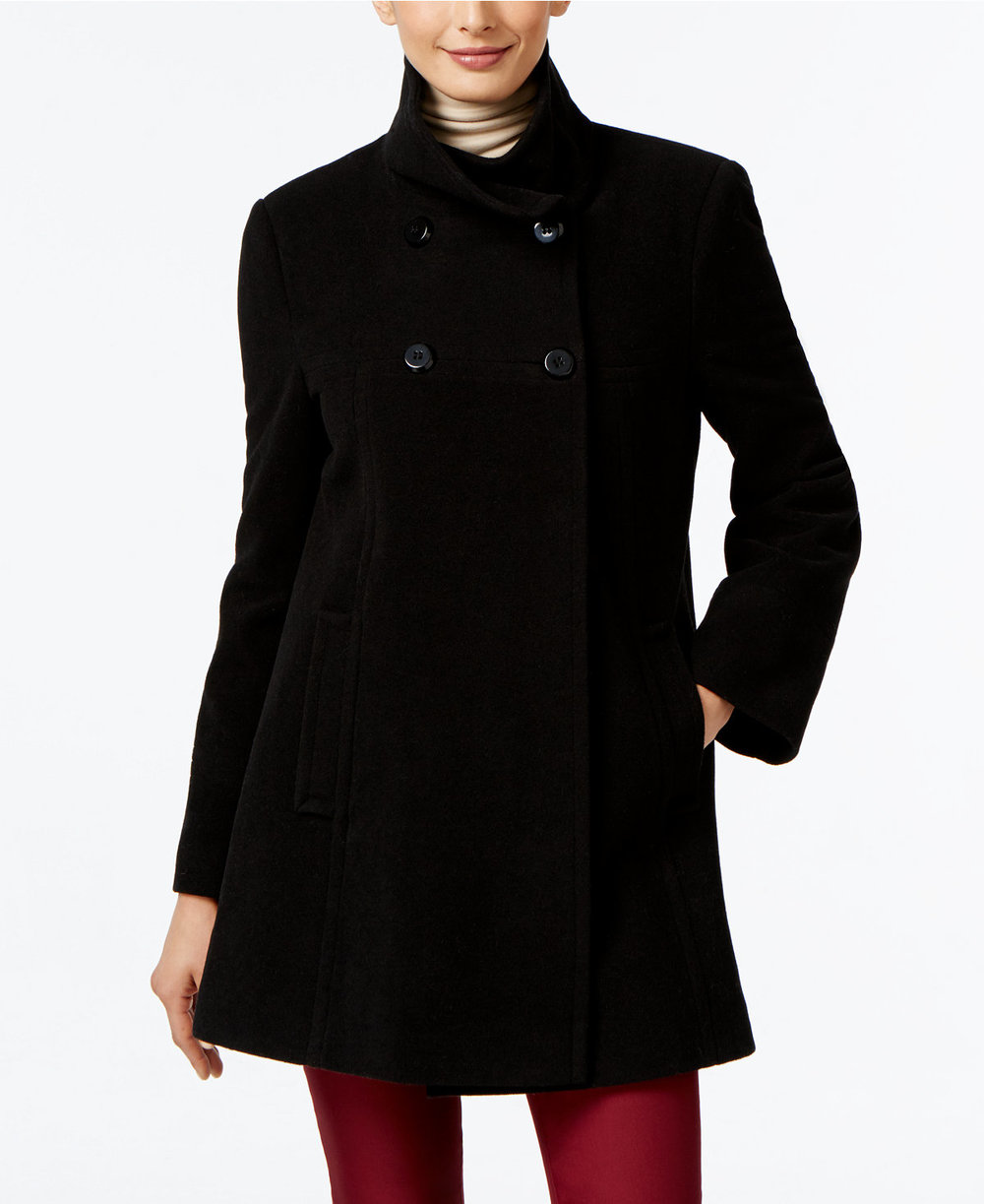 Larry Levine   Double-Breasted Babydoll Swing Coat. Macy's. Was: $245. Now: $109.