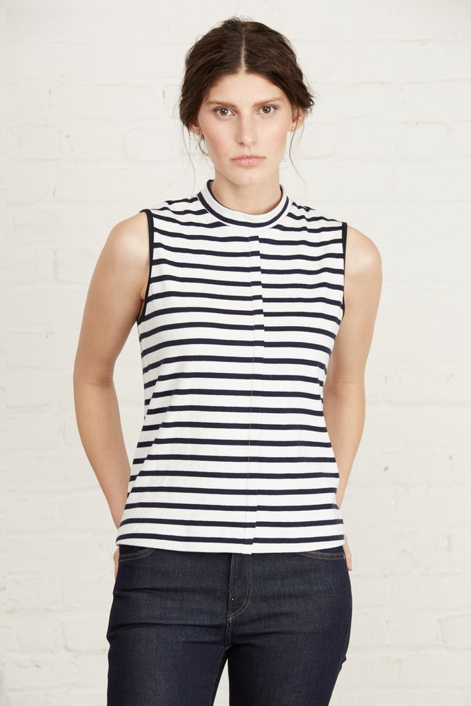 Bria Sleeveless Top. Available in navy/white & white/navy. Amour Vert. $68.