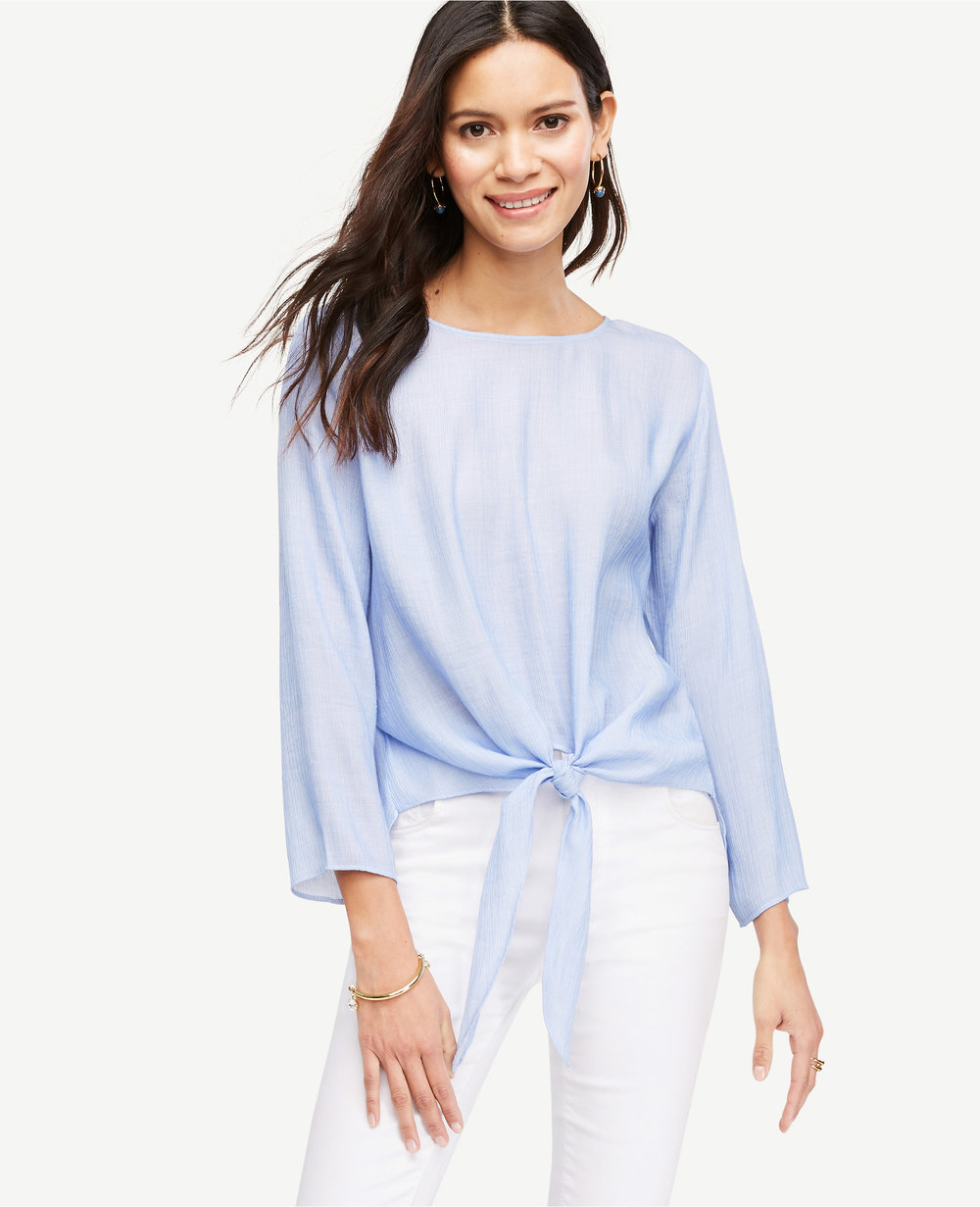Textured Tie Waist Blouse. Available in two colors. Ann Taylor. $79.50. Additional 50% off everything with code: CYBER50.