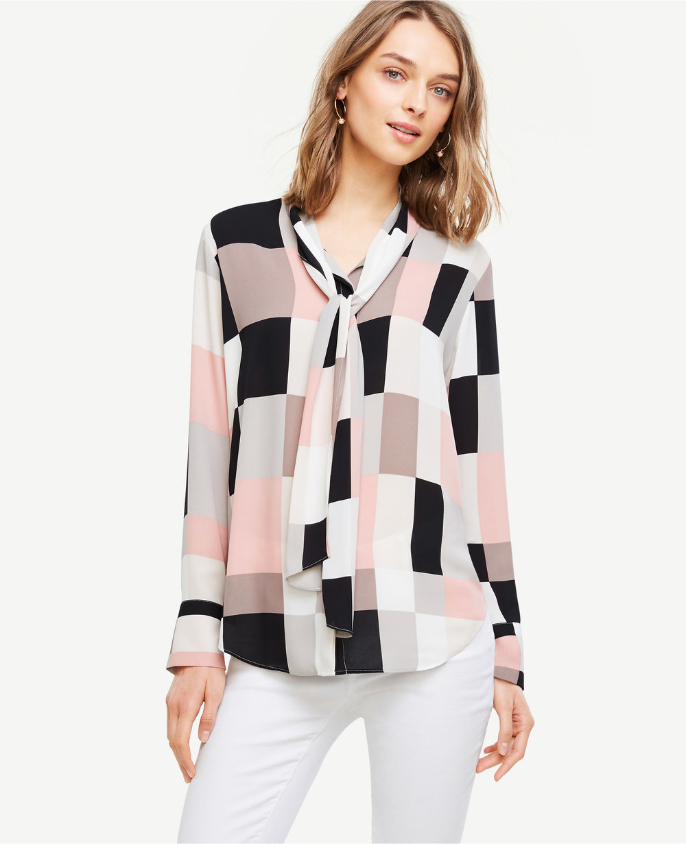 Colorblock Tie Neck Blouse. Was: $79. Now: $64. Additional 50% off with code: CYBER50.