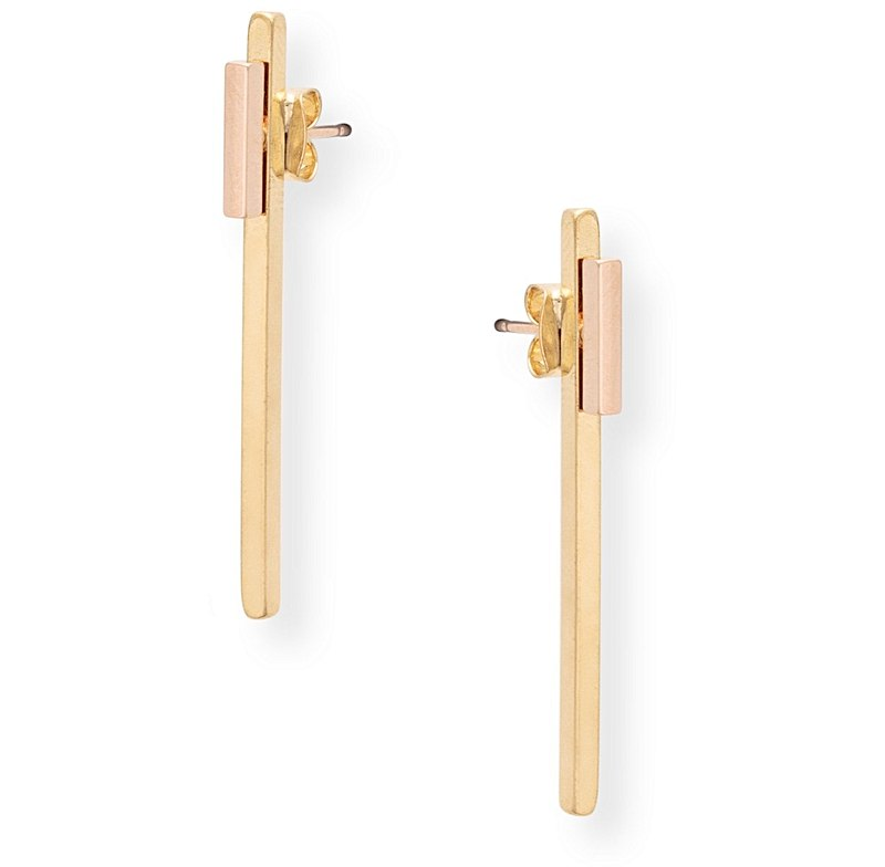Long Rod Front to Back Stud Earrings. Oliver Bonas. $18.