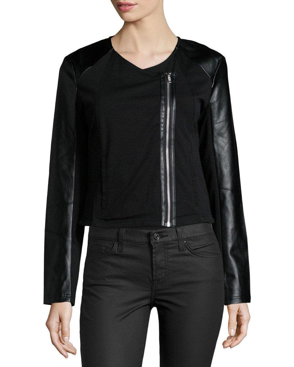 LA Made Lucia Mixed-Media Zip Jacket, Black. Neiman Marcus Last Call. Was: $85. Now: $27.