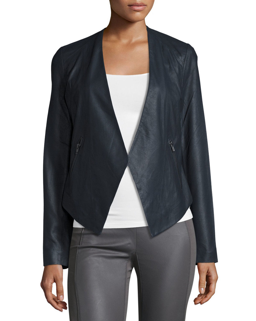 My Tribe Peaked-Hem Leather Blazer, Ink. Nieman Marcus Last Call. Was: $299. Now: $119.