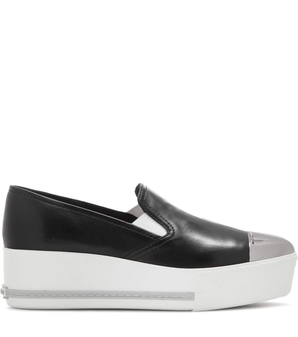 MIU MIU  My Theresa. Leather slip-on platform sneakers. $595.
