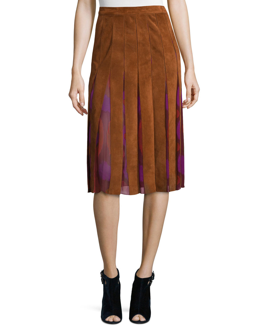 Diane von Furstenberg Melita Suede & Silk A-Line Midi Skirt. Last Call Neiman Marcus. Was: $798. Now: $559 + additional 30% off: $363.