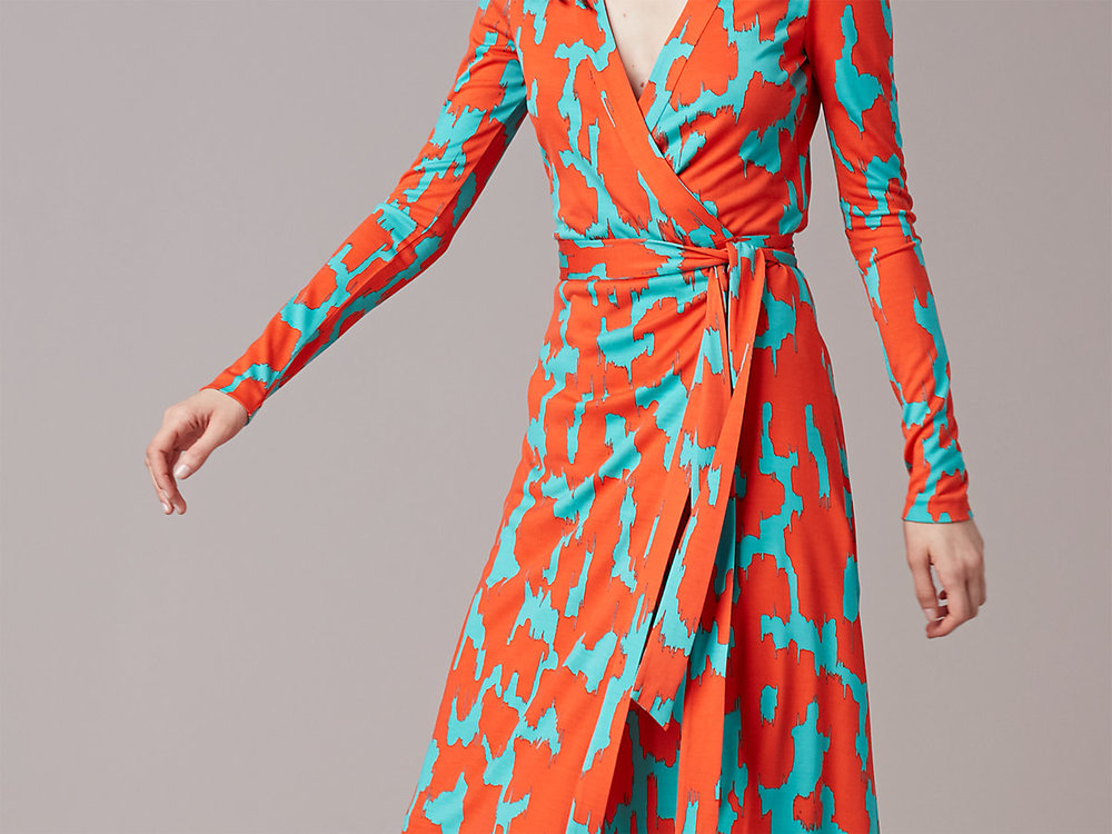 DVF Banded Long-Sleeve Wrap Dress. DVF. Was: $468. Now: $280.