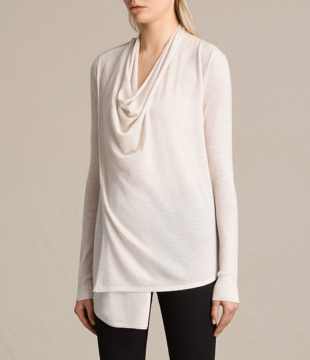 DRINA RIBBED CARDIGAN. Available in three colors. All Saints. Was: $234. Now: $184.