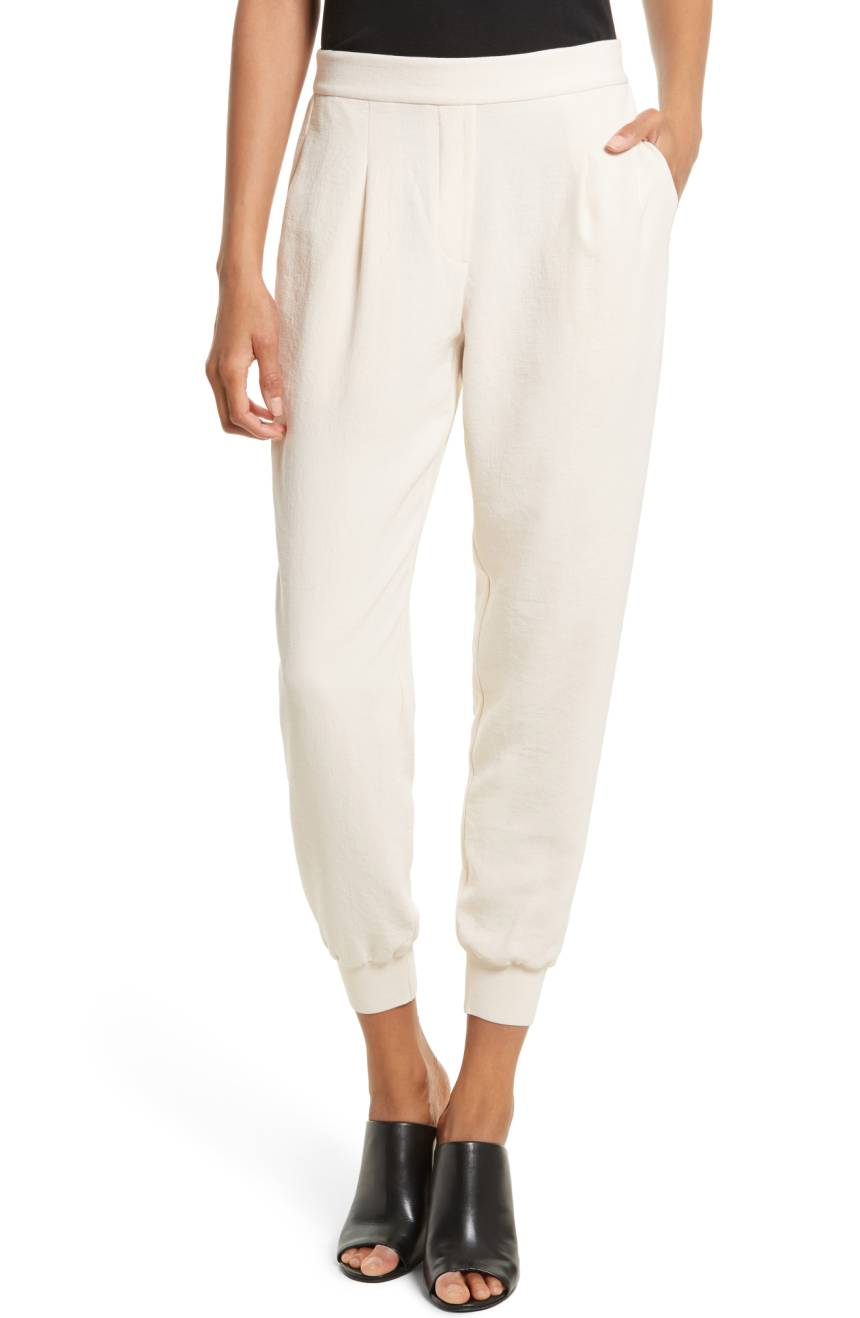 Rebecca Taylor Crepe Jogger Pants. Available in two colors. Nordstrom. Was: $295. Now: $176.