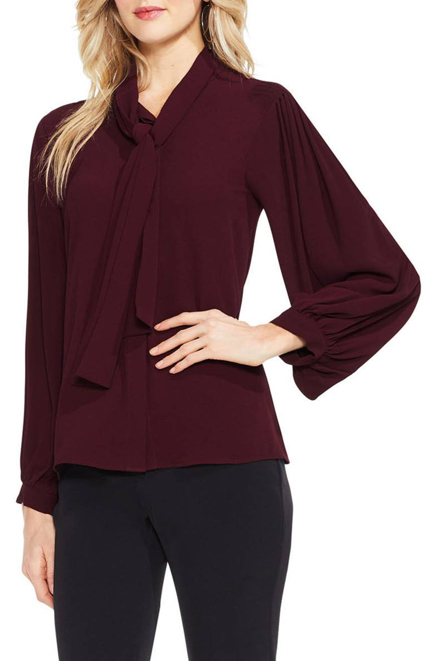 Vince Camuto Long Sleeve Tie-Neck Blouse. Available in multiple colors. $99.