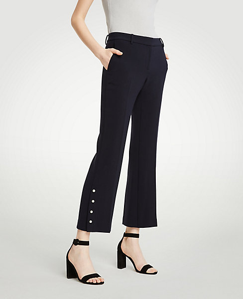 Petite Pearlized Crop Pants (navy). Ann Taylor. $98.