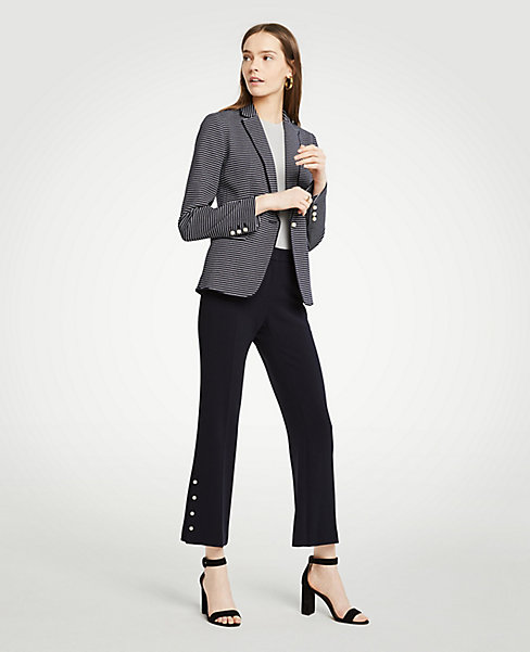 Petite Striped Pearlized Trim Blazer (navy). Ann Taylor. $159.