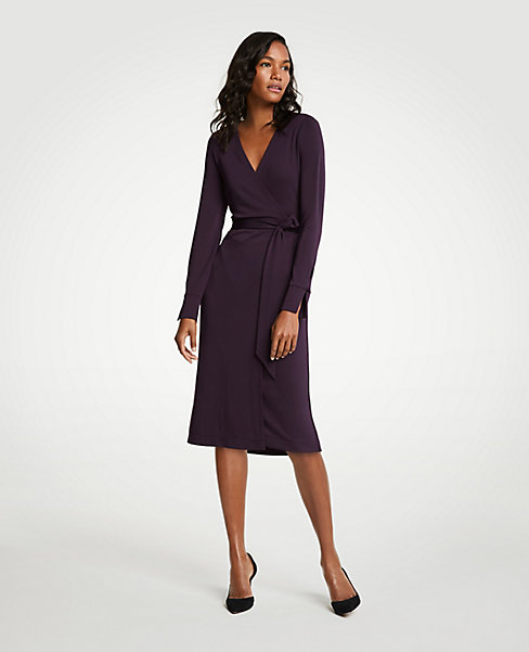 Petite Button Cuff Wrap Dress. Ann Taylor. $98.