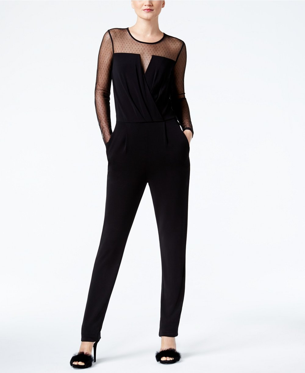 MICHAEL Michael Kors  Petite Mixed-Media Jumpsuit. Macy's. Was: $150. Now: $89.