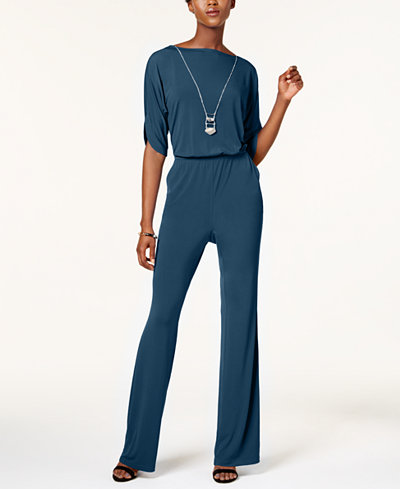 NY Collection  Petite Jumpsuit with Necklace. Macy's. Available in three colors. Was: $65. Now: $32.