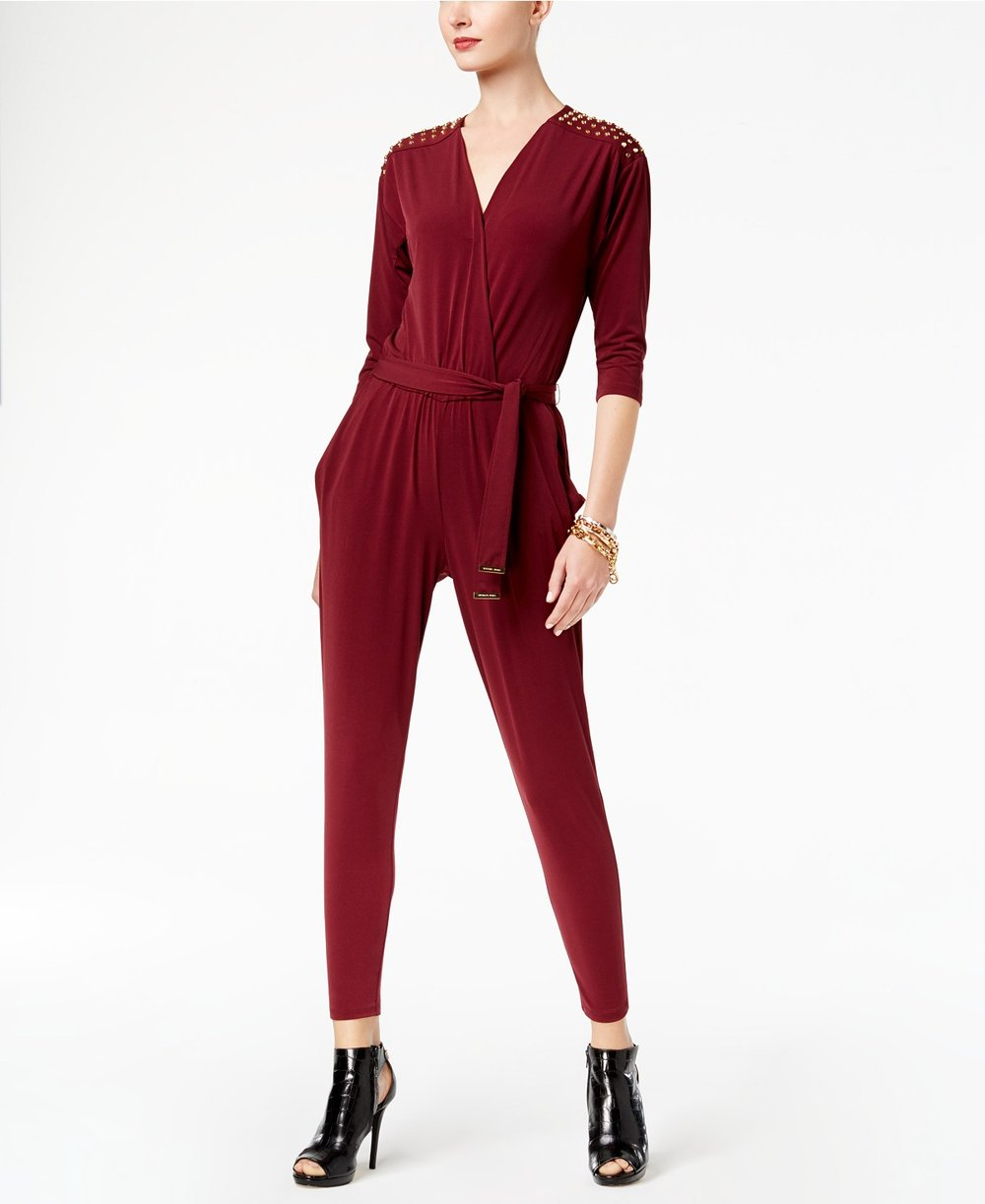 MICHAEL Michael Kors  Petite Embellished Surplice Jumpsuit. Available in two colors. Macy's. Was: $160. Now: $119.