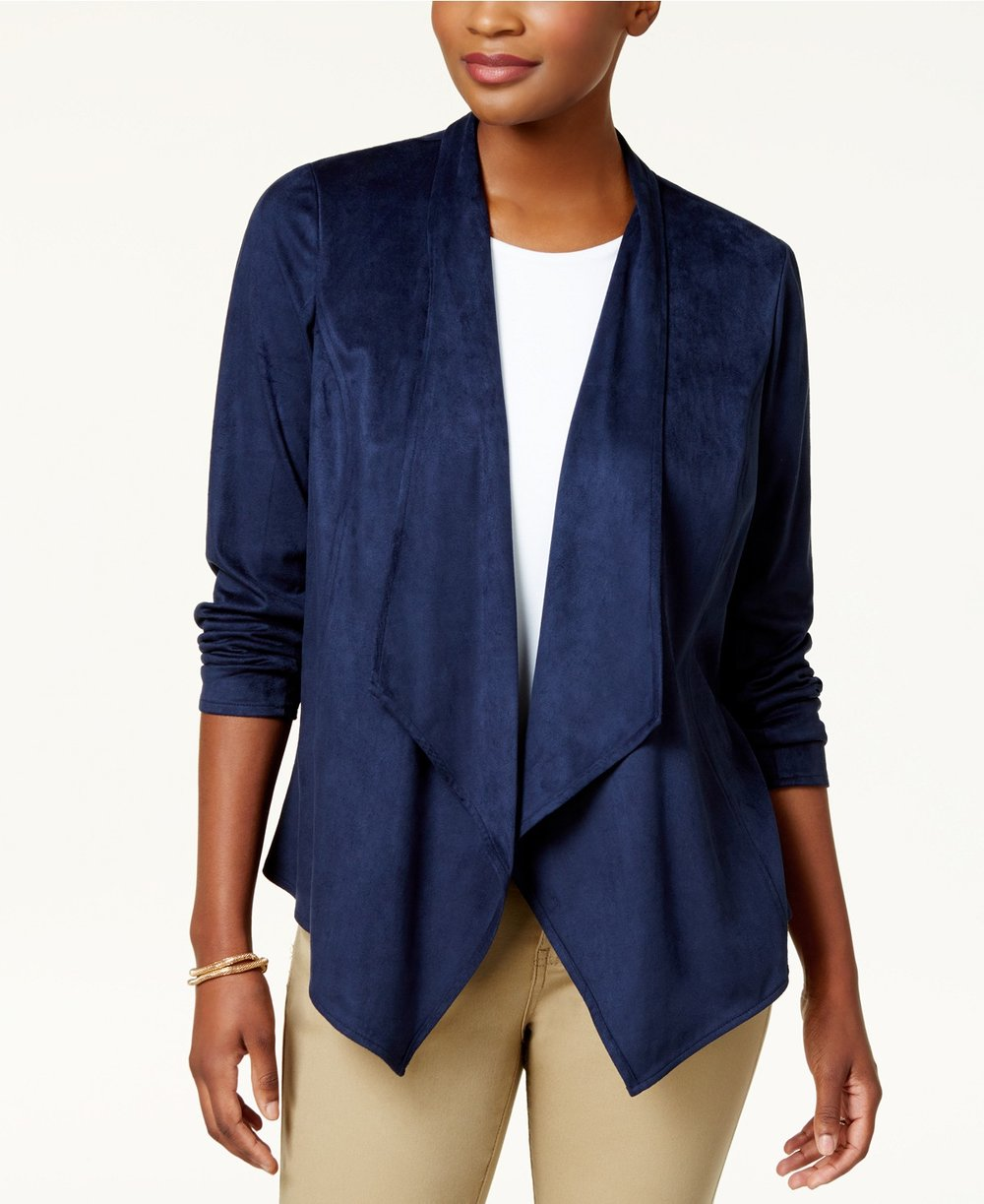 JM Collection  Petite Open-Front Moleskin Jacket. Available in two colors. Macy's. Was: $69. Now: $34.
