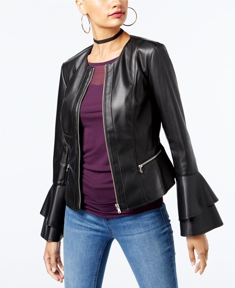 INC International Concepts  Petite Ruffle-Sleeve Faux-Leather Jacket. Macy's. Was: $119. Now: $59.
