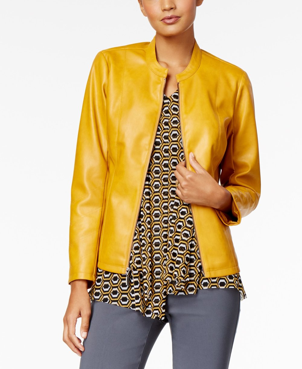 Alfani  Petite Faux-Leather Band-Collar Jacket.Macy's. Was: $99. Now: $54.