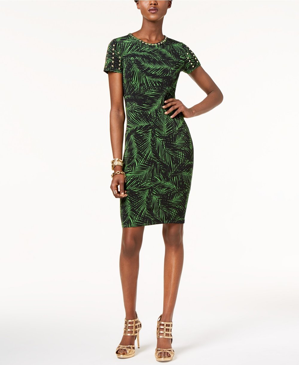 MICHAEL Michael Kors  Petite Palm-Print Studded Dress. Macy's. Was: $125. Now: $74.