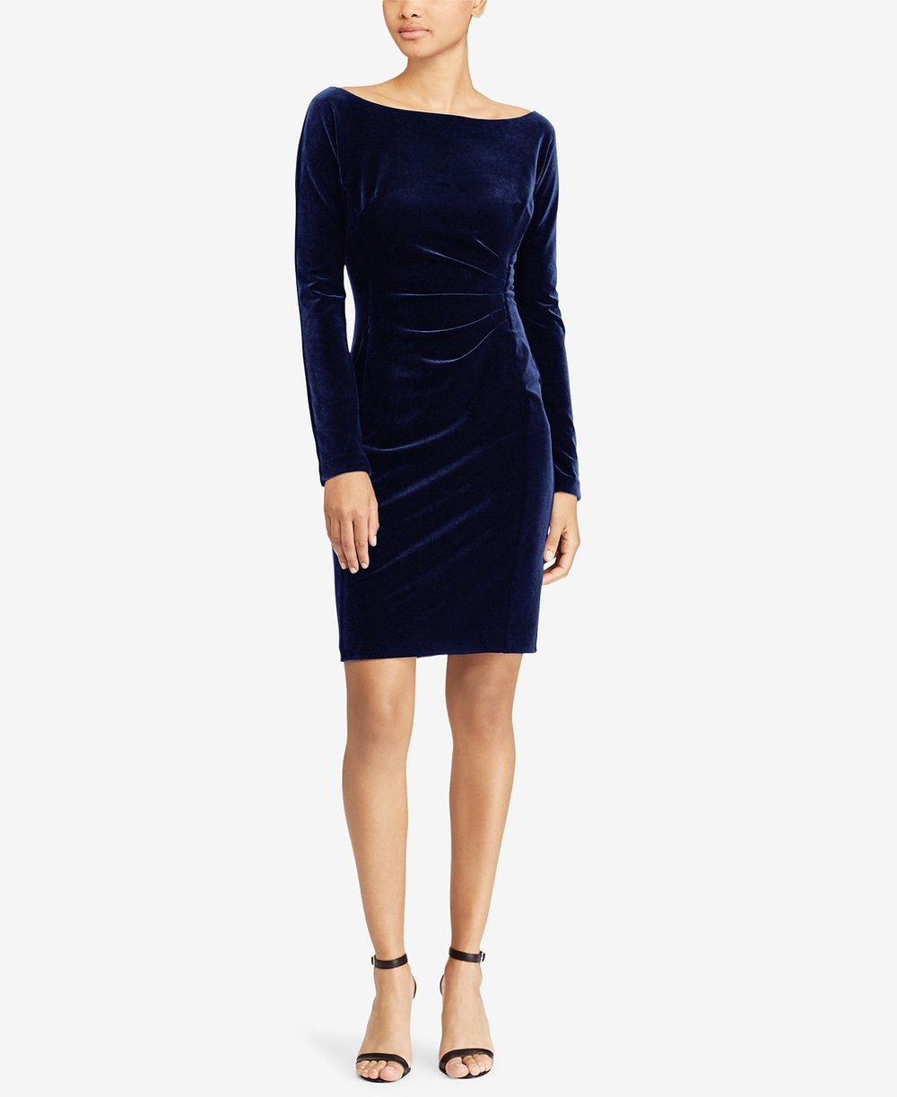 Lauren Ralph Lauren  Petite Velvet Sheath Dress. Macy's. Was: $160. Now: $95.