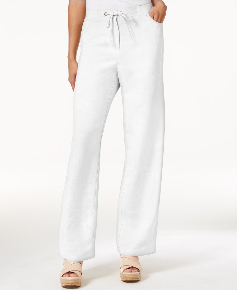 JM Collection  Petite Linen-Blend Drawstring Pants. Available in three colors. Macy's. $49.