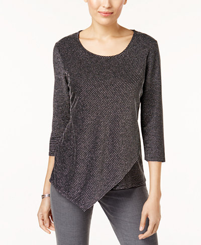 JM Collection  Petite Asymmetrical-Hem Top. Macy's. Was: $49. Now: $29.