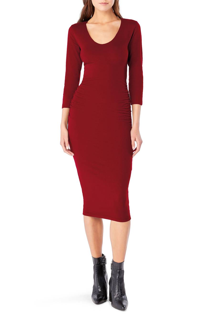 Petite Michael Stars Ruched Midi Dress. Available in multiple colors. Nordstrom. $98.