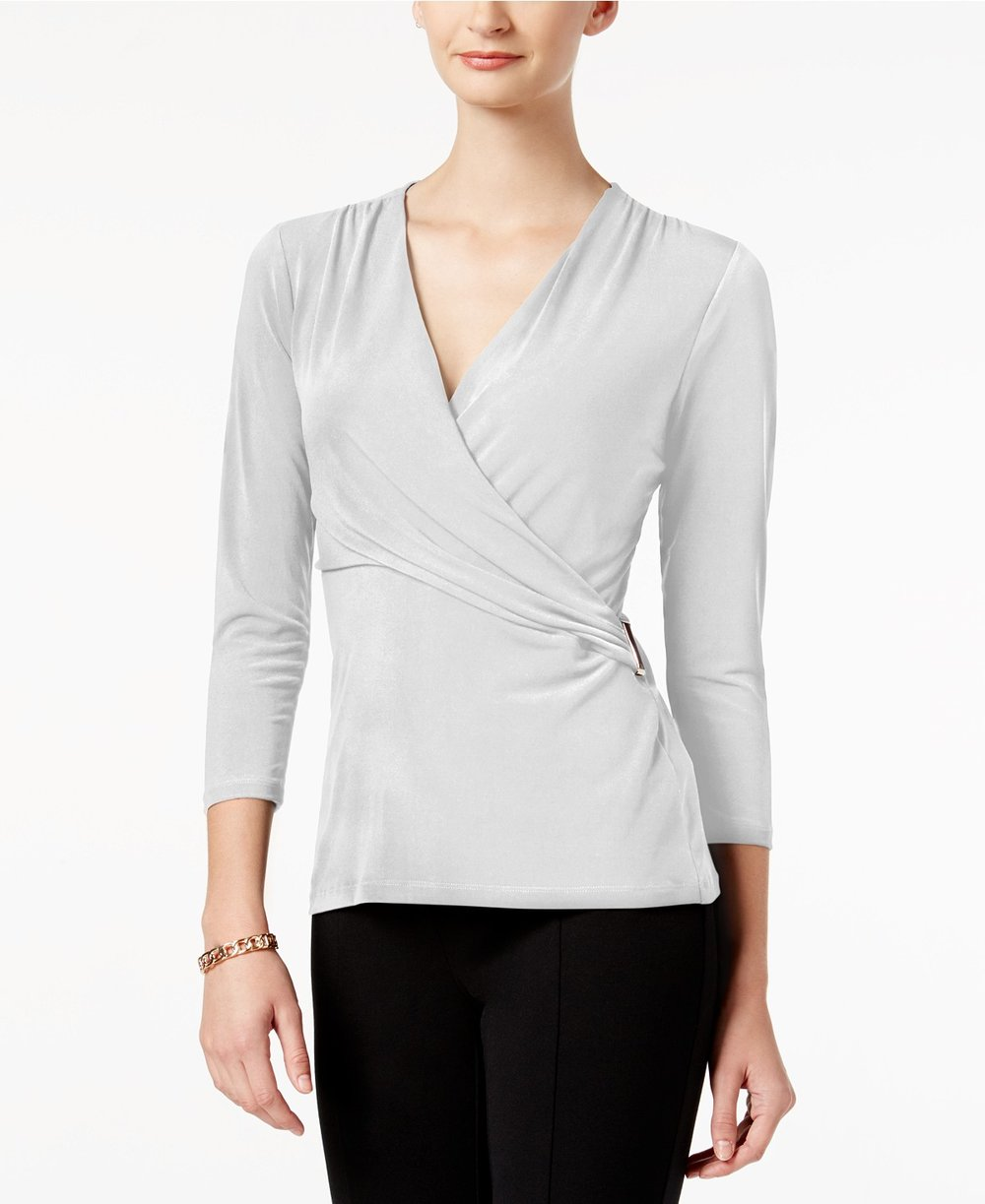 Charter Club  Petite Printed Faux-Wrap Top. Available in a zillion colors. Macy's. Was: $44. Now:$21.