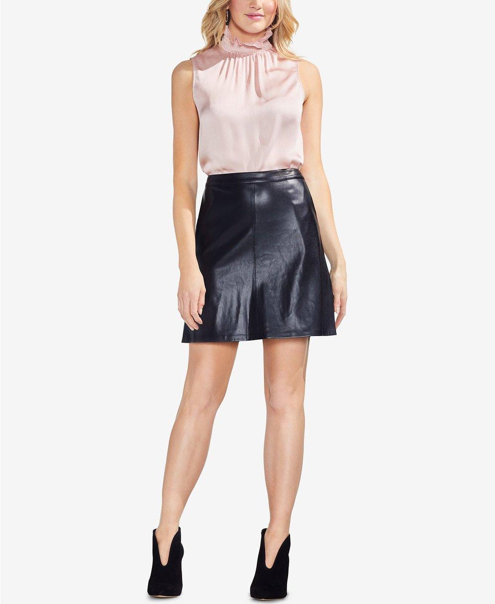 Vince Camuto     Faux-Leather Mini Skirt. Macys. $79.