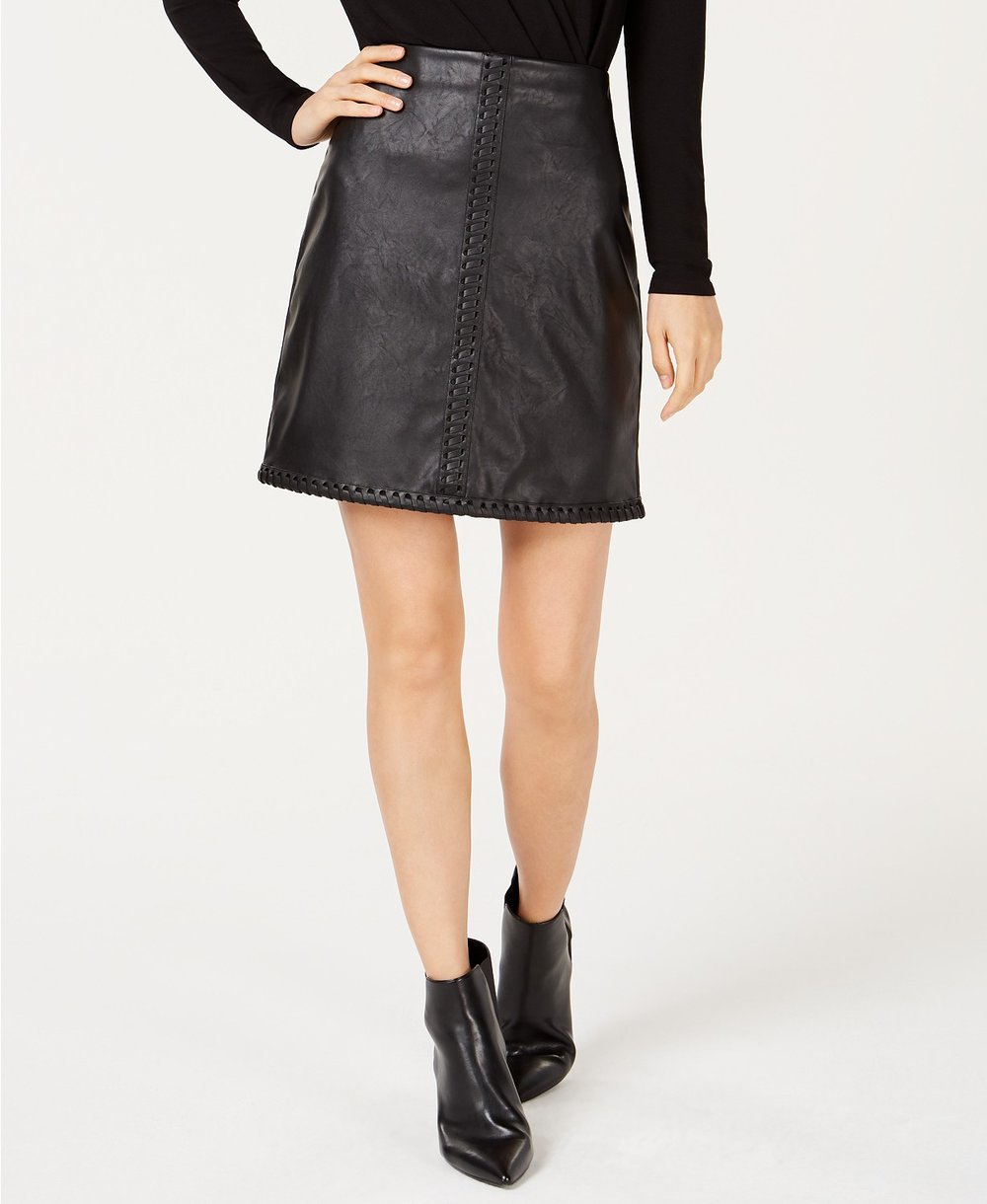 INC International Concepts     I.N.C. Faux-Leather Whipstitched Skirt. Macy's. Was: $69. Now: $54 with code: SCORE.