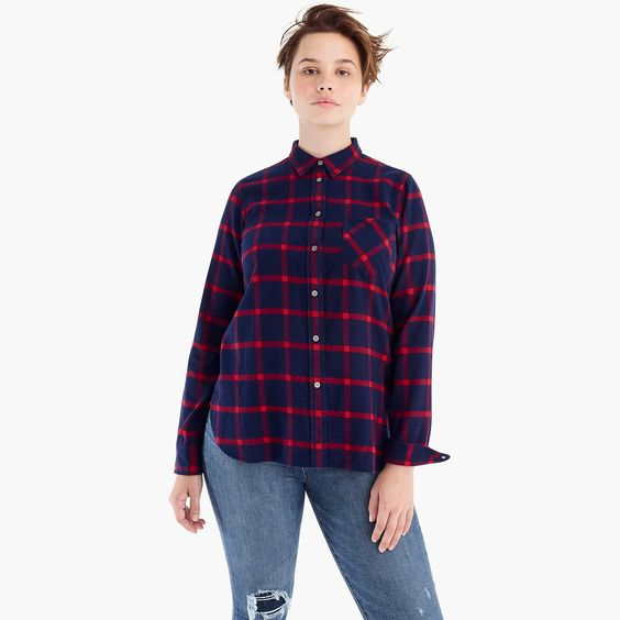 Classic-fit shirt in block plaid. J.Crew. Was: $89. Now: 25% off with code: READYTOPARTY.