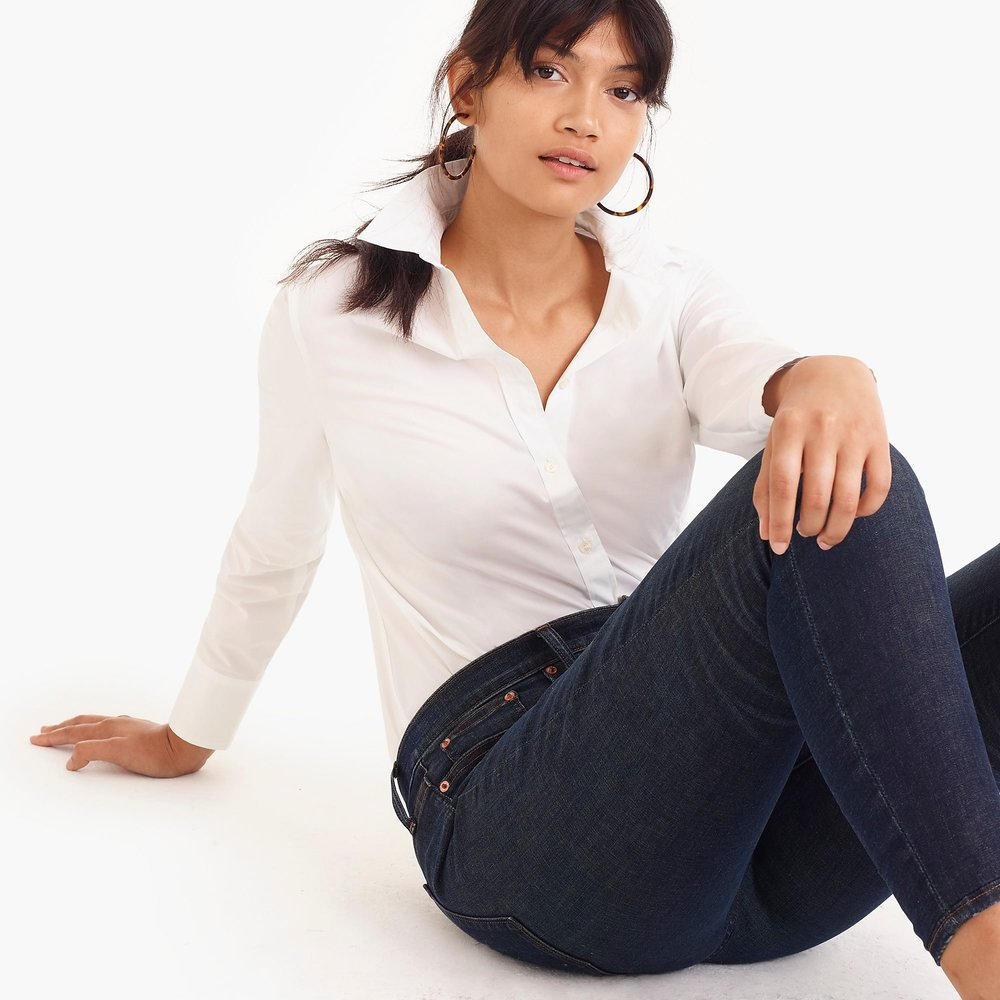 Curvy slim stretch perfect shirt. Available in multiple colors. J.Crew. $69. Additional 35% off with code: READYTOPARTY.