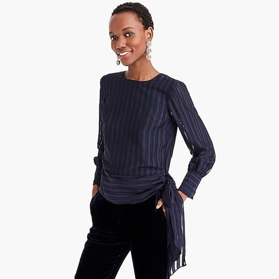 Shadow-striped top. Available in two colors. J.Crew. Was: $89. Additional 35% off with code: READYTOPARTY.