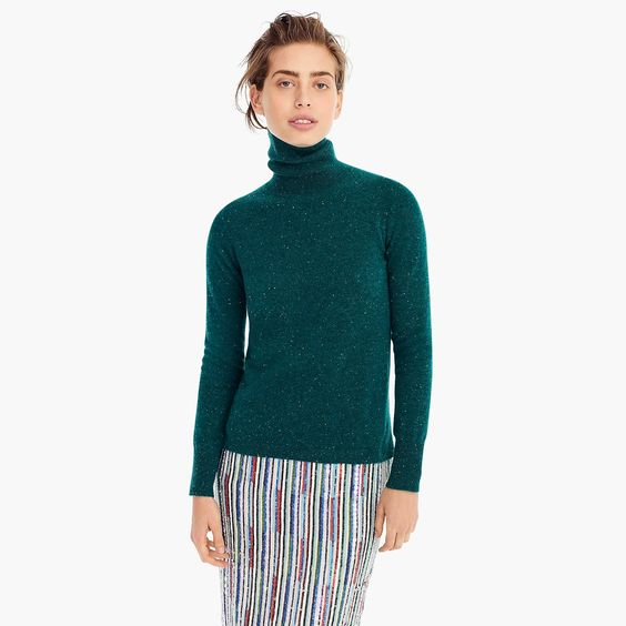 Cropped turtleneck sweater in Donegal cashmere. Available in multiple colors. J.Crew. $168 with additional 35% off with code: READYTOPARTY.