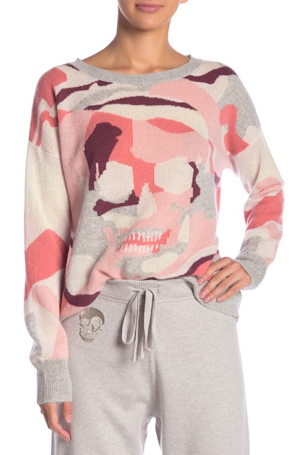 SKULL CASHMERE Arden Skull Camo Print Pullover. Nordstrom Rack. Was: $345. Now: $119.