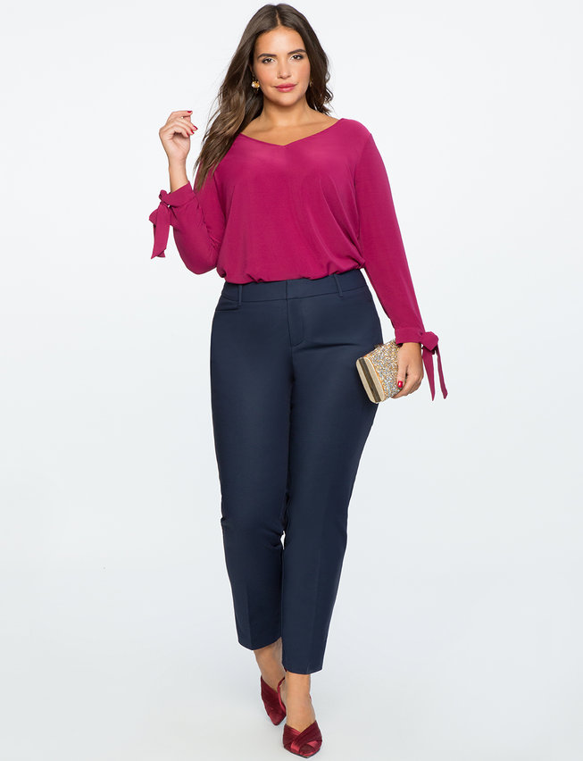 Kady Fit Double-Weave Pant. Available in multiple colors and multiple colors. Eloquii. $79 + 50% off with code: YESPLEASE.