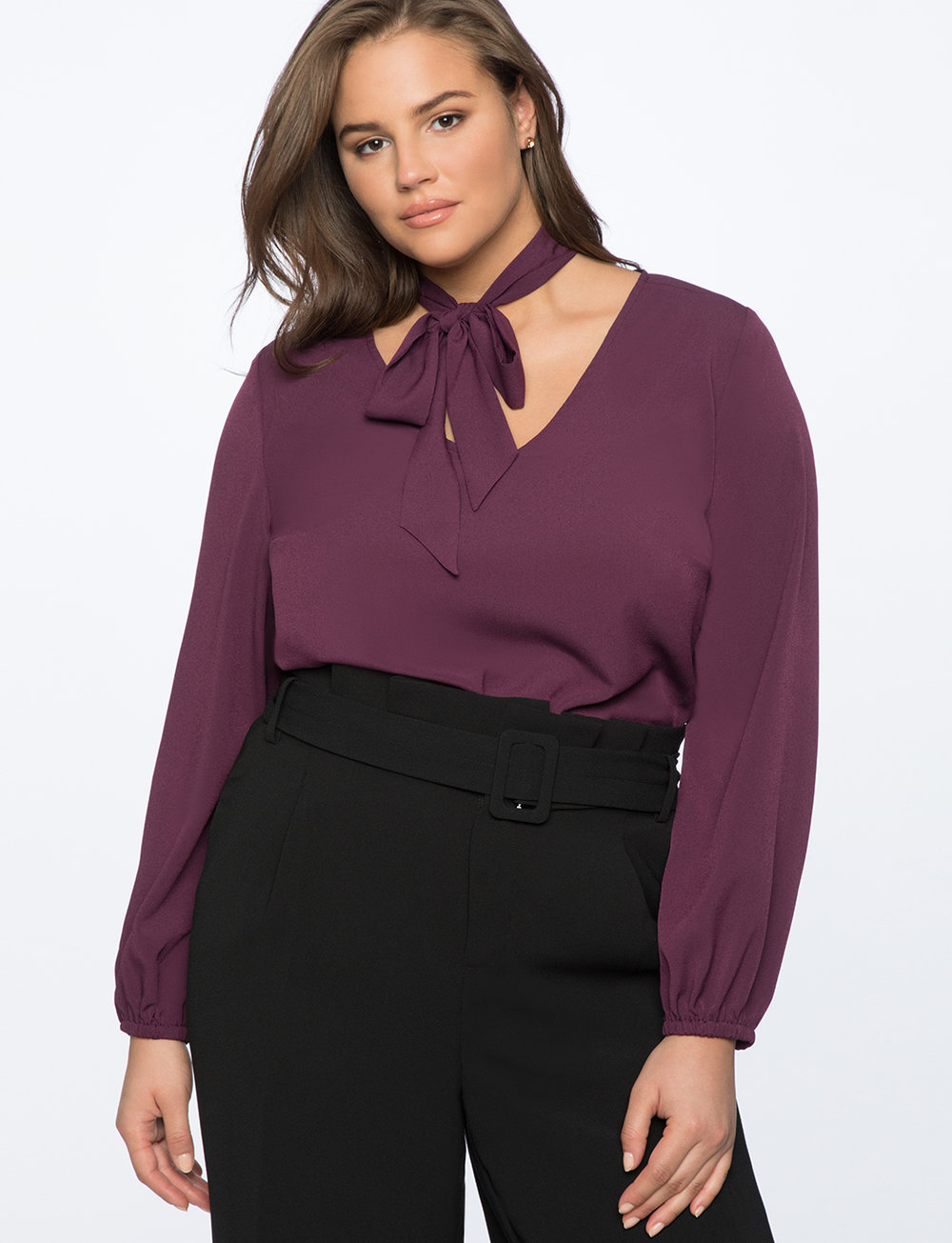 Tie Neck Top with Puff Sleeve. Available in three colors. Eloquii. $74 + 50% off with code: YESPLEASE. Polyester