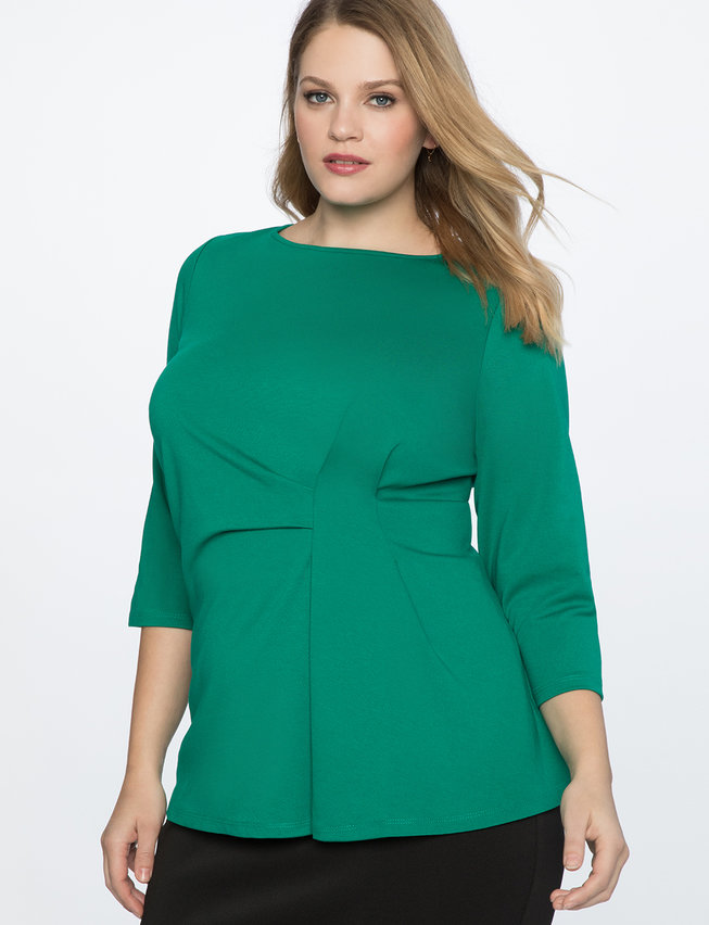 Asymmetrical Pleated 3/4 Sleeve Top. Available in three colors. Eloquii. $59. + 50% off with code: YESPLEASE.