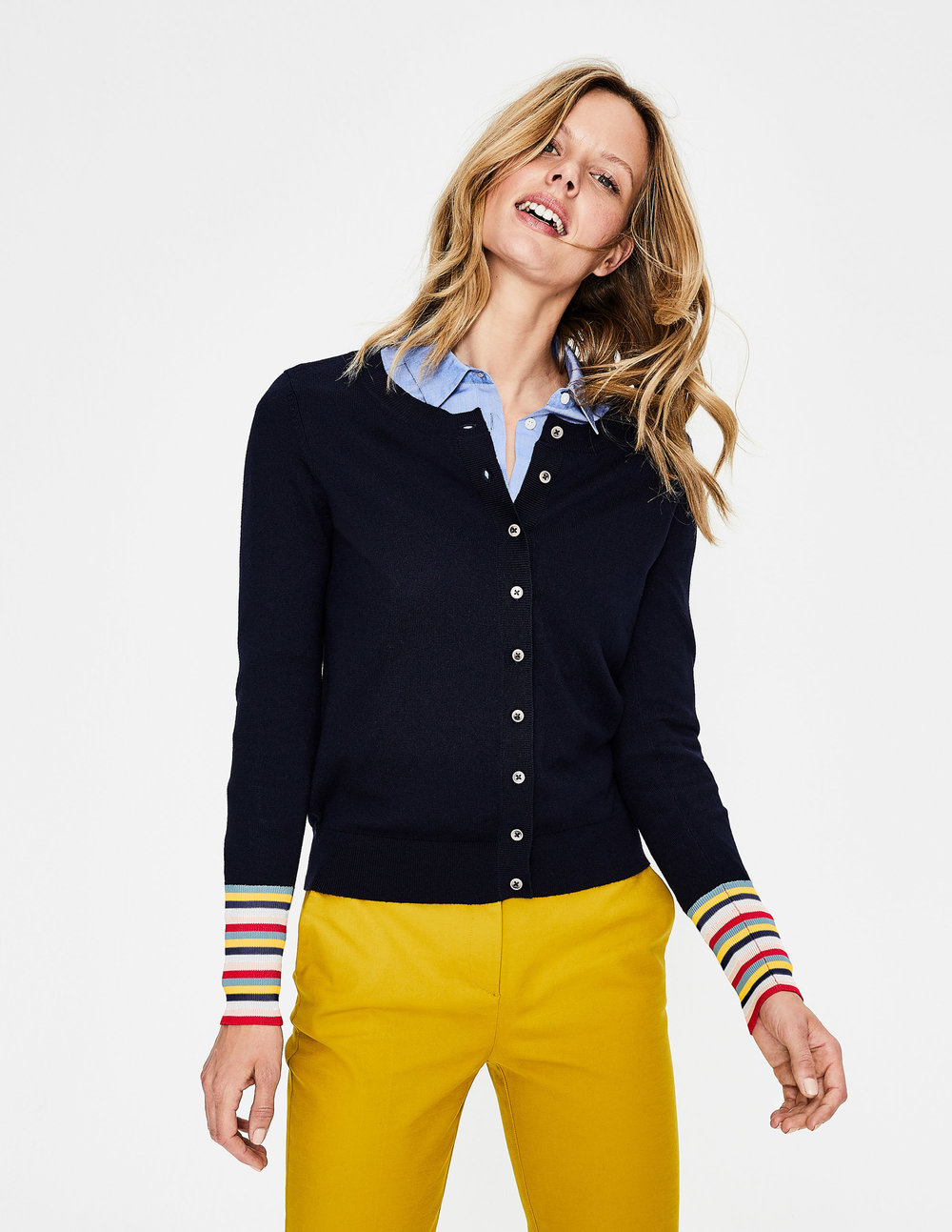 CASSANDRA CARDIGAN.(navy) Available in multiple colors. Boden. $98.