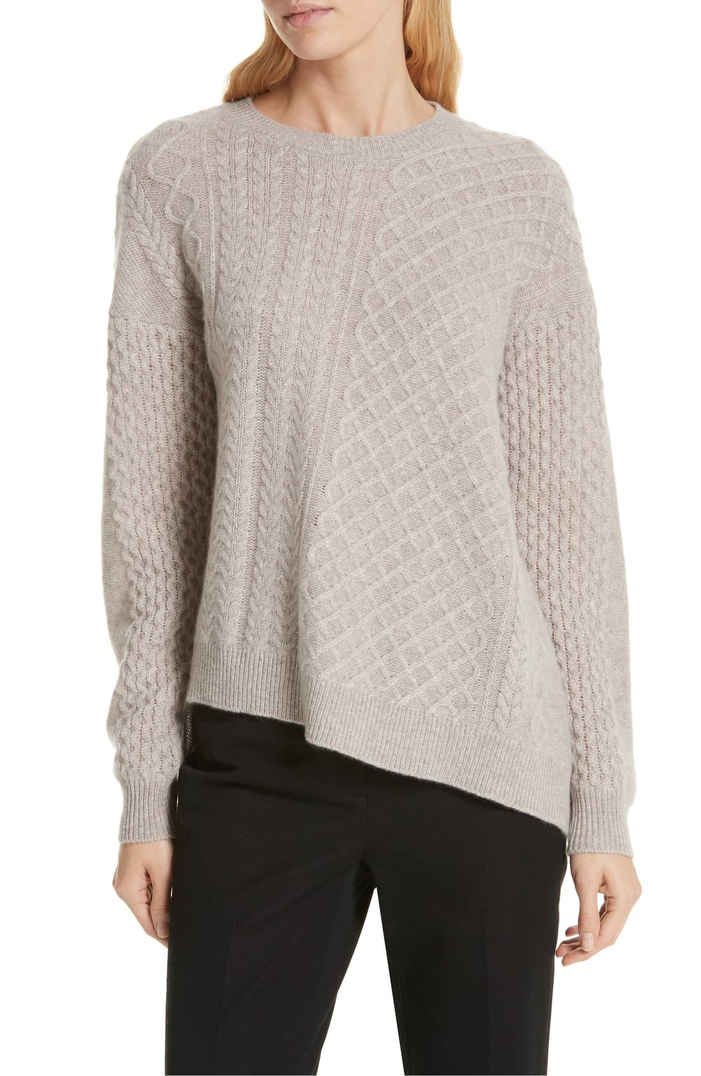 Nordstrom Signature Cable Mix Asymmetrical Cashmere Sweater. Nordstrom. Was: $279. Now: $139.
