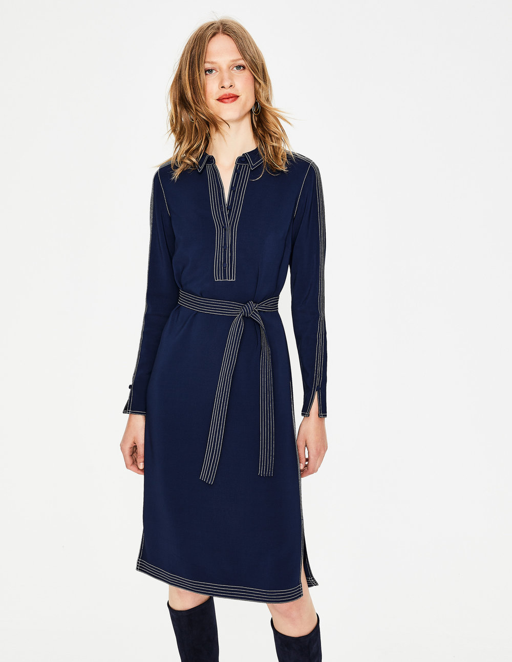 SCARLETT SHIRT DRESS. Was: $180. Available in red, blue and long. Boden. Now: $90.