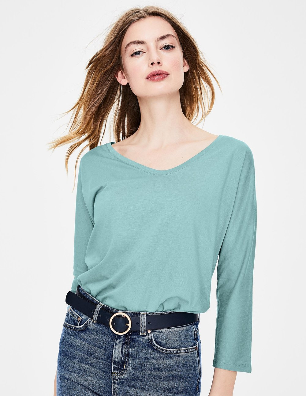 SUPERSOFT VOOP TEE. Available in multiple colors. Boden. Was $38.00. Now $26.60 To $38.00