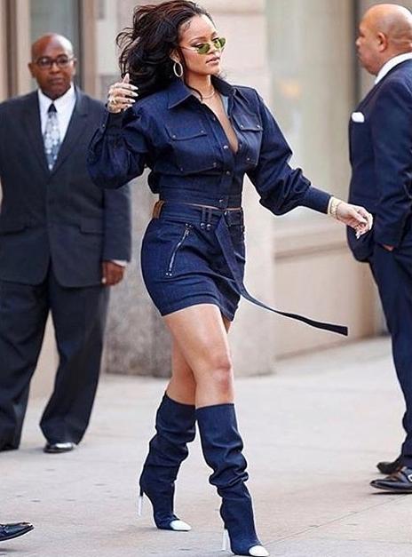 Rihanna Blue Jean Outfit
