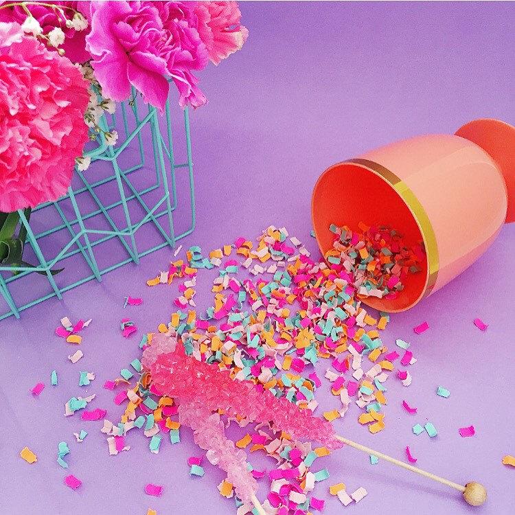 colorful table confetti